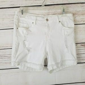 Angel Kiss Distressed White Denim Shorts